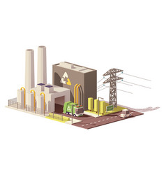 low poly waste-to-energy plant vector image vector image