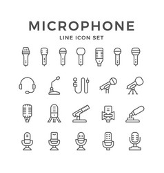set line icons of microphone vector image