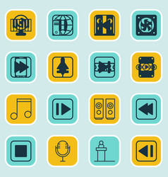 set of 16 audio icons includes note audio mobile vector image vector image