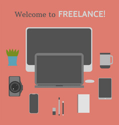welcome to freelance desktop creative elements 6 vector image