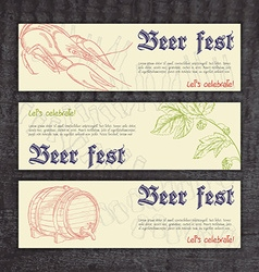 beer fest banners with hand drawn crayfish hops vector image