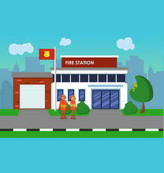 firefighters on the background of the fire station vector image