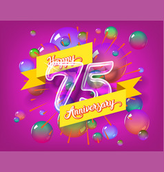 happy 75th anniversary glass bulb numbers set vector image vector image