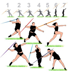 javelin silhouettes athletes set vector image vector image