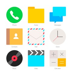 Minimal Flat Icons for mobile phones Set 1 vector image vector image