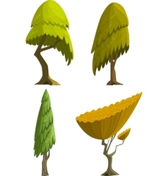 Set of four stylized cartoon trees vector image vector image