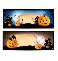 Two Halloween banners vector image
