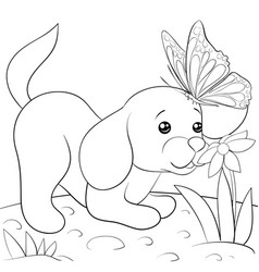 a children coloring bookpage a cute dog smells a vector image