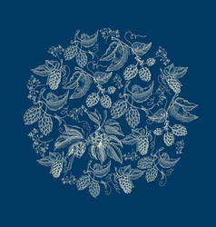Abstract natural round wreath blue background vector