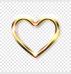 Abstract shiny golden heart frame with white empty vector