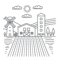agriculture farm with fields thin line concept vector image