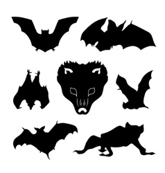 Bat set vector image