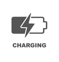 Battery charging icon black sign on white vector