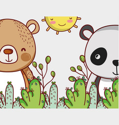 Bears in forest doodle cartoons vector