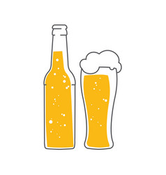 beer bottle and a glass of foam beer vector image