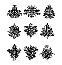 Black flowers in retro damask style vector