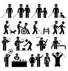 blind man handicap stick figure pictograph icons vector image