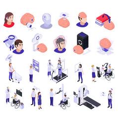 Brain implants technologies isometric set vector