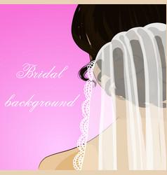 Bride back portrait with veil background vector