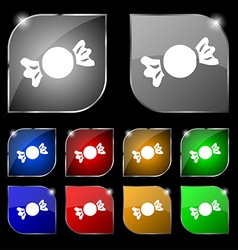 Candy icon sign set of ten colorful buttons with vector