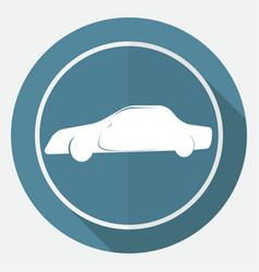 car icon on white circle with a long shadow vector image