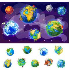 Cartoon earth globes concept vector