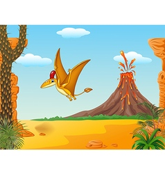Cartoon funny pterodactyl flying vector