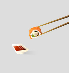 chopsticks is tonging a sushi dipped in soy sauce vector image