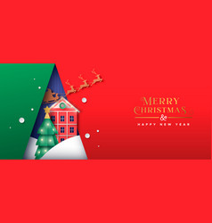 Christmas new year papercut winter house banner vector