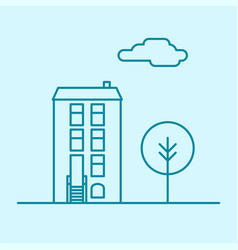 City thin line office building with tree and vector