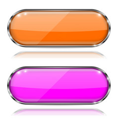 Colored oval glass 3d buttons with metal frames vector