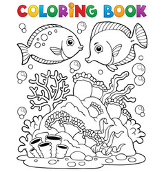 Coloring book coral reef theme 1 vector