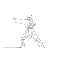 continuous line drawing karate girl makes a punch vector image