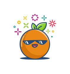 Cool orange kawaii emoticon cartoon vector