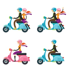 Couple Man Woman Riding Scooter vector
