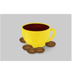 cup of coffee yellow and coffee beans isolate 3d vector image