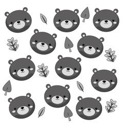 cute bear cartoon pattern background vector image