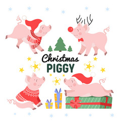 Cute christmas pig set in different poses cartoon vector