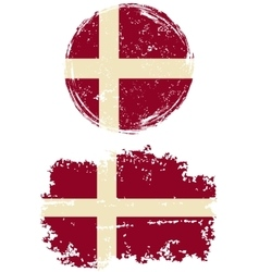 Danish round and square grunge flags vector image