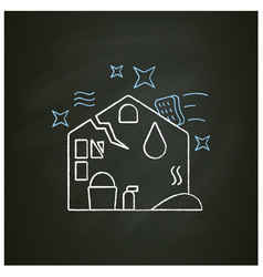 Disaster cleaning chalk icon vector