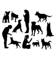 Dog training silhouettes vector