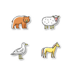 domestic and wild animals printable patches vector image