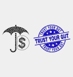 Dotted financial umbrella icon and distress vector