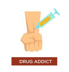 drug addict syringe and vein narcotic substance vector image