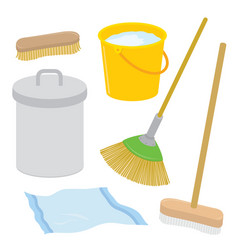 Equipment cleaner housework brush cartoon vector