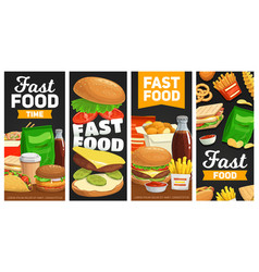 fast food banners cartoon street food meals vector image