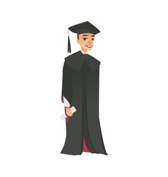 flat boy graduate in gown cap vector image