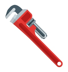 Flat design red pipe wrench vector