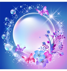 Flowers and bubbles vector