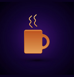 Gold coffee cup icon isolated on dark blue vector